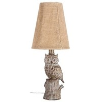 Whitewash Owl Mini Lamp with Burlap Shade | Shop Hobby Lobby