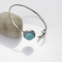 New Moon And Sun Vintage Silver Turquoise Open Bangle