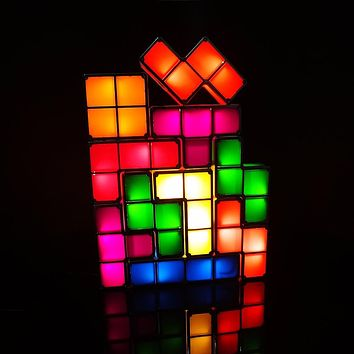Tetris Puzzle Light Stackable LED Desk Lamp Constructible Block Night Light Retro Game Tower Baby Colorful Brick Toy - Toy & Games