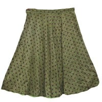 Womens HolidayMedieval Skirt Green Floral Print Boho Maxi Skirts