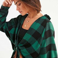 UO Courtney Tie-Front Flannel Top | Urban Outfitters