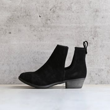 faux suede side cut out bootie - black
