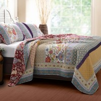 Greenland Home 3-Piece Geneva Quilt Set, Full/Queen, Multi