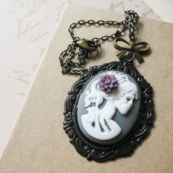 Victorian Gothic Lady Skeleton Necklace - Lenore - Love After Death - Smokey Gray