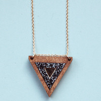 Inlaid Triangle Necklace Black Glitter by Wolf and Moon