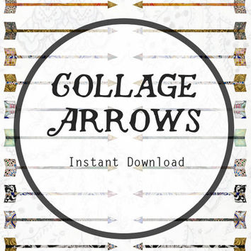 Collage Arrow Digital Clip Art Digital Collage Sheet, Arrows Download, Arrow Graphic, Arrow Clip Art, Arrow Clipart, Tribal Download.