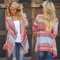 2015 Hot Sale female vestidos women tops Women Irregular Stripe Shawl Kimono Cardigan Tops Cover Up Blouse Free Shipping