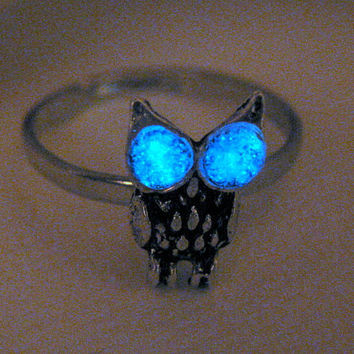 Glowing Ring Glowing Eyes Jewelry Silver Owl Ring Stacking Small Little Owl Adjustable Glows in the Dark Glowing Jewelry Eyeshine Nocturnal