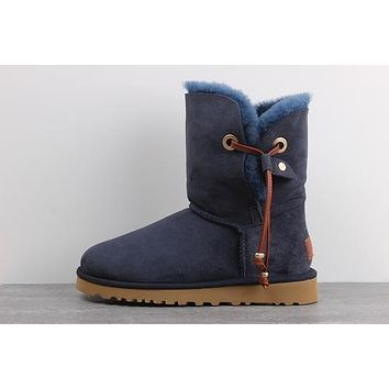 Sale Ugg 1017496 Navy Blue Classic Maia Sheepskin Boot Snow Boots
