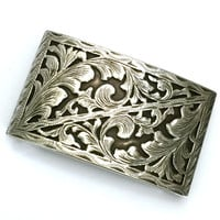 Mexican Sterling Silver Belt Buckle, Elaborate Floral Motif, Rich Oxidation, Textured Design
