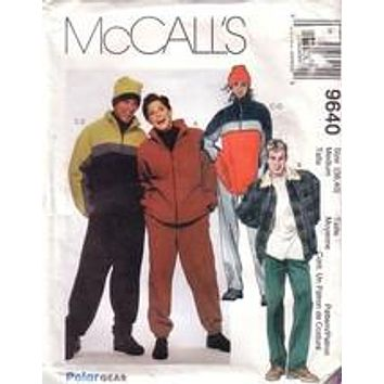 McCall's 9640, Unisex Jacket, Top, Pants, and Hat, Size M