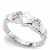 sterling open heart stone ring