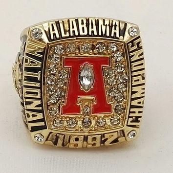 Factory Direct Sale 1992 Alabama Crimson Tide National Championship Replica Ring,18k real gold