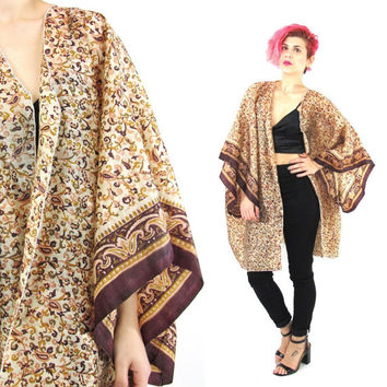 Vintage Silk Kimono Hippie Boho Paisley Print Robe Slouchy Draped Jacket Oversize Wide Short Sleeve Festival Summer Plus Size Coverup (L/XL)