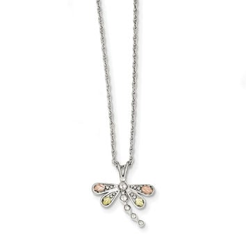 Sterling Silver & 12K Dragonfly Necklace QBH186