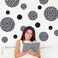 Black Leopard Print Dot Wall Decals
