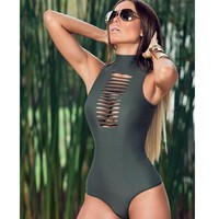 High Neck Sleeveless Hollow  Bathing Suit Pad Solid Swimwear One Piece Swimsuit Monokini Bodysuit