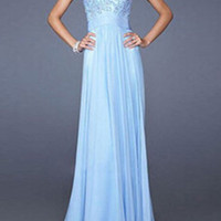Blue Round Neck Sheer Lace Pleated Dress -SheIn(Sheinside)