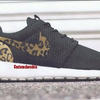 Custom Brown Cheetah Print Roshe Runs