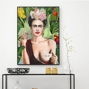 Frida Kahlo Portrait Wall Art Posters and Prints Canvas Painting Wall Picture for Living Room Artwork Decor