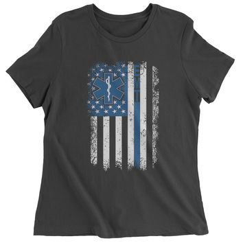 EMT Emergency Medical Technician With Flag Womens T-shirt