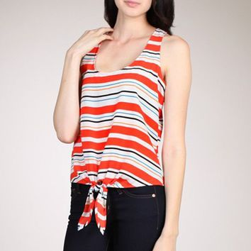 Sexy Round Neck Striped Racerback Sleeveless Cami Tank Top Shirt Self Tie Hem