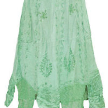 hippie gypsy BOHO EMBROIDERED GREEN LONG SKIRTS RAYON PEASANT maxi SKIRTS