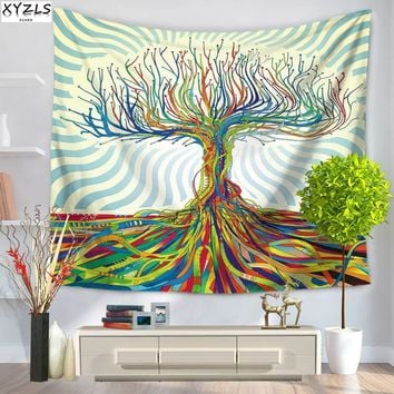 XYZLS Geometric Wall Tapestry Abstract Oil Painting Tapestry Wall Hanging Beach Towel Tree Door Curtain 150cmx200cm