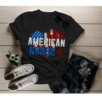 Women's Nurse T Shirt All American Shirt Nurse Tee Nurses Shirts Caduceus Patriotic Graphic Tee Flag