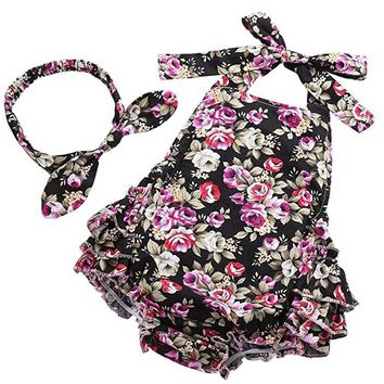 Infant Baby Girls romper Clothes Floral Print Sleeveless Headband Set Romper Play suit baby clothes