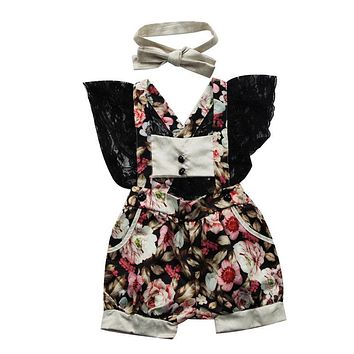 Baby Girls Summer Floral Romper Infant Baby Girls Backless Lace Cotton Romper  New Arrival Fashion Jumpsuit Clothes