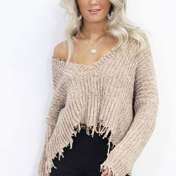 Behind Us Shredded Taupe Chenille Sweater