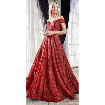 Long Off The Shoulder A-Line Ball Gown Red Glitter Print Pattern Pockets
