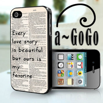 iPhone 4 case Our Love Story Design  custom cell by aGoGoDesign
