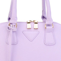 Purple Gold-Toned Hardware PU Handbag