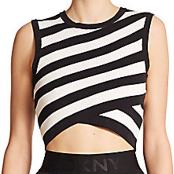 DKNY - Striped Cropped Top - Saks Fifth Avenue Mobile