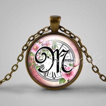 Initial M Necklace, Best Friend,Back to School, Teacher Gift, The Letter M Art Pendant, Cursive School Handwriting Charm, Alphabet Necklace