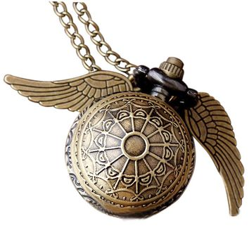 Harry Potter Golden Snitch Necklace Pocket Watch
