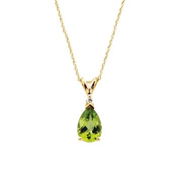 Peridot Teardrop & .04 Ct Diamond Necklace in 14k Yellow Gold, 18 Inch