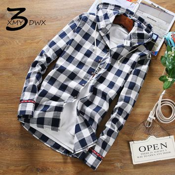 XMU3DWX size S-5XL New product fashion male high-grade linen fabrics grid long sleeve shirt/Men's slim fit hooded casual shirt