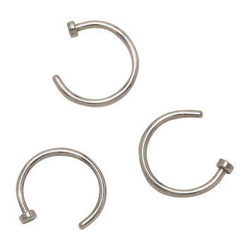 Steel Basic Nose Open Hoop 3 Pack