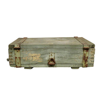 1950s Military Crate, Wooden & Metal Rustic Industrial Storage Ammo Box