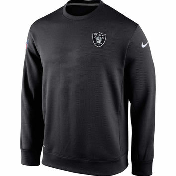Oakland Raiders Nike KO Chain Fleece Crew Pullover Performance Sweatshirt – Black