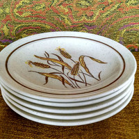 1980 Homer Laughlin Stoneware Lunch Plates - Wheat Pattern
