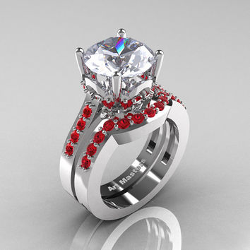 Classic 14K White Gold 3.0 Carat White Sapphire Ruby Solitaire Wedding Ring Set R301S-14KWGRWS