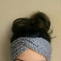 Turban Ear Warmer Headband, Knit Boho Ear Warmers, Handmade Turban Headband Ear Warmer, Knitted Ear Warmer, Knit Turban Headband Ear Warmer
