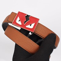 FENDI Newest Fashionable Women Men Smooth Buckle Leather Belt Brown