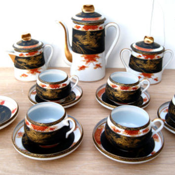 Vintage Handpainted Japanese Uchida Porcelain Coffee/Tea set