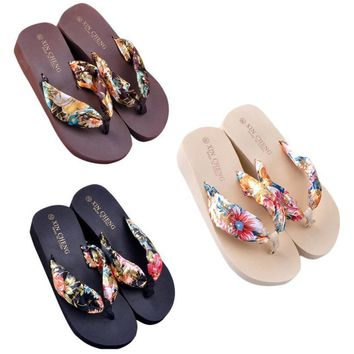 Women Slippers Bohemia Style Floral Beach Sandals Shoes Wedge Platform Thongs Slippers