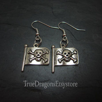 Pirate Earrings Pirate Flags Skull and Crossbones Jolly Roger Earring